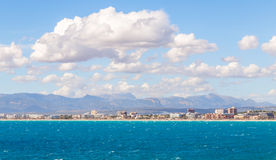 VIew of Palma de Mallorca coast. From the sea Stock Photography
