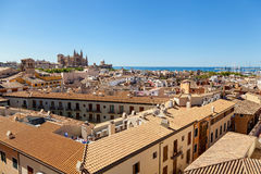 View of Palma de Mallorca. Wiew of Palma de Mallorca from the roof of one of the houses of the seaside town. In the distance you can see the Cathedral of Santa Royalty Free Stock Photo