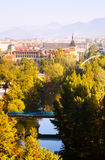 View of Pamplona with Arga river Stock Images