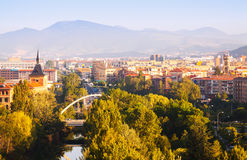 View of Pamplona with bridge over Arga Stock Photos