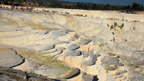 View of pamukkale. And tourists in turkey stock video
