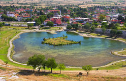 View of Pamukkale town, Turkey Stock Photography