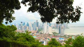 View of Panama City from Cerro Ancon showing Skycrapers. Thru the trees stock video footage