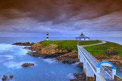 View on Pancha Island in ribadeo, Lugo. stock photography