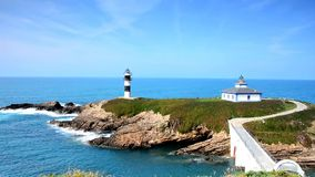 View on Pancha Island in Ribadeo, Spain. stock video