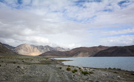 View of Pangong Tso with mountains in Ladakh, India Royalty Free Stock Photography