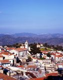 View of Pano Lefkara, Cyprus. View over the town rooftops towards the mountains, Pano Lefkara, Cyprus Stock Photo