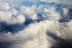 View panorama cloudscape from airplane window Stock Images