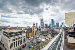 View from the panorama platform on Hauptwache in Frankfurt. FRANKFURT AM MAIN, GERMANY - MAY 18, 2016: view from the panorama platform to the skyline  with Royalty Free Stock Photos