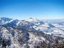 View of the panorama of the tame emperor. View of the snow covered panorama of the tame emperor of the Kaisergebirge in Tyrol Austria in winter stock photos