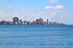 View of the panoramatic Havana in Cuba. There is blue sky and blue ocean stock images