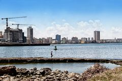 View of the panoramatic Havana in Cuba. There is blue sky and blue ocean stock image