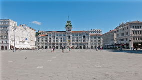 View panoramic of Unity square. View of the Unità d'Italia Square in time lapse in Trieste stock video