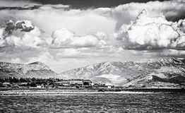 View from the Pantan Beach in Trogir, colorless. View from the Pantan Beach in Trogir, Croatia to the hills. Travel destination. Black and white photo stock image
