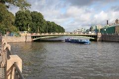 View of the Panteleymonovsky bridge over the Fontanka river. Saint Petersburg, Russia. August 2017 Stock Images