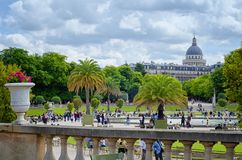 View of Pantheon dome from Luxembourg Gardens royalty free stock photo