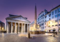 View of Pantheon and Rotonda square. Rome, Italy. View of Pantheon, Rotonda square and Fountain at night light. Rome, Italy stock photography