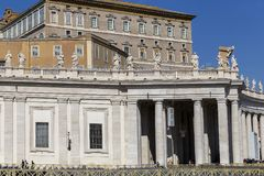 View of the Papal Apartment 2. VATICAN CITY, VATICAN - OCTOBER 21, 2017: View of the Papal Apartments from Saint Peter`s Square, where Pope live stock images