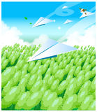 The view of Paper airplanes. Over a field stock illustration