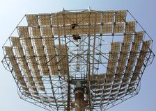 View Parabolic solar dish from down to up. View of Parabolic dish solar reflector from down to up at Noida, UP, NCR, India. This construction is for Solar royalty free stock photos