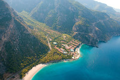 View from parachute on hotel Fethiye Royalty Free Stock Image