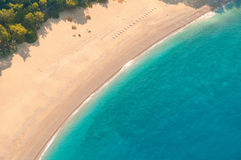 View from parachute on the sandy beach. Royalty Free Stock Photos