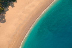View from parachute on the sandy beach Royalty Free Stock Image