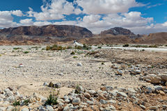 View on Paran passing and dry riverbed, Israel Royalty Free Stock Photo
