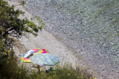 View of the parasols at the beach of Katerini in Greece. Royalty Free Stock Images