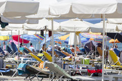 View of the parasols at the beach of Katerini in Greece. Royalty Free Stock Photography
