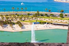 View of Parc de la Mar Park of the Sea with the sea in the background from the terrace of the Cathedral of Santa Maria of Palma. Also known as La Seu. Palma Royalty Free Stock Images