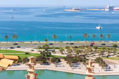 View of Parc de la Mar Park of the Sea with the sea in the background from the terrace of the Cathedral of Santa Maria of Palma,. Also known as La Seu. Palma Royalty Free Stock Photo