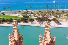 View of Parc de la Mar Park of the Sea with the sea in the background from the terrace of the Cathedral of Santa Maria of Palma,. Also known as La Seu. Palma Royalty Free Stock Photos