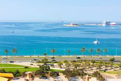 View of Parc de la Mar Park of the Sea with the sea in the background from the terrace of the Cathedral of Santa Maria of Palma,. Also known as La Seu. Palma Royalty Free Stock Images