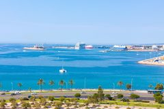 View of Parc de la Mar Park of the Sea with the sea in the background from the terrace of the Cathedral of Santa Maria of Palma,. Also known as La Seu. Palma Stock Images