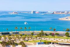 View of Parc de la Mar Park of the Sea with the sea in the background from the terrace of the Cathedral of Santa Maria of Palma,. Also known as La Seu. Palma Stock Photo