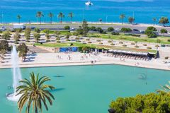 View of Parc de la Mar Park of the Sea with the sea in the background from the terrace of the Cathedral of Santa Maria of Palma,. Also known as La Seu. Palma Stock Photography