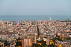 View from the Parc del Guinardó to Barcelona  Royalty Free Stock Photos