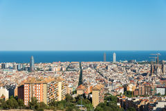 View from the Parc del Guinardó to Barcelona Stock Photo