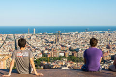 View from the Parc del Guinardo to Barcelona Stock Image