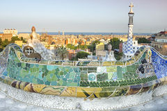 View from Parc Guell designed by Antoni Gaudi, Barcelona, Spain Royalty Free Stock Photos