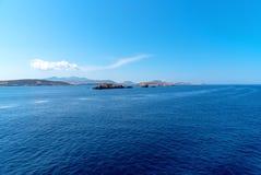 Parikia bay and harbor - Cyclades island - Aegean sea - Paroikia (Parikia) Paros - Greece. View of Parikia bay and harbor - Cyclades island - Aegean sea royalty free stock photo