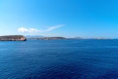 Parikia bay and harbor - Cyclades island - Aegean sea - Paroikia (Parikia) Paros - Greece. View of Parikia bay and harbor - Cyclades island - Aegean sea royalty free stock images