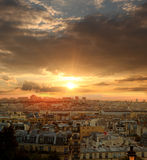 View of Paris against sunrise, France Royalty Free Stock Photo