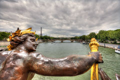 View on Paris from Alexander III Bridge. Stock Photo