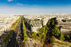 View of Paris from the Arc de Triomphe Stock Photography
