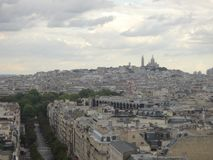 View on Paris from Arc de Triomphe. Avenue Champs elysees in front. stock photography