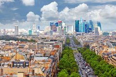 View of Paris from the Arc de Triomphe.  Defans Area.Paris. Fran Stock Images