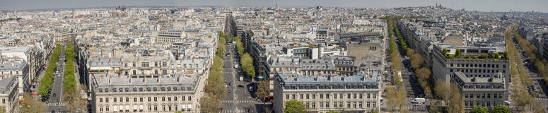 View on Paris from Arc de Triomphe. Royalty Free Stock Photo