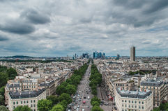 View of Paris from the Arc de Triumph. View of Defense from the Arc de Triumph in cloudy day Royalty Free Stock Images
